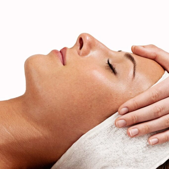 beauty treatment, profile with hands